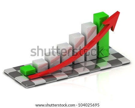 Business graph with green bars at the beginning and end and a red arrow on the chessboard