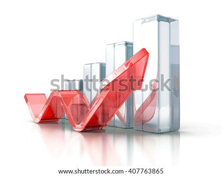 Business Graph With Rising Up Arrow. 3d Render Illustration
