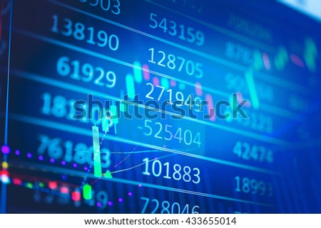 business graph with tending stock market data on led display