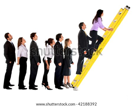 Business group climbing a ladder isolated over a white background
