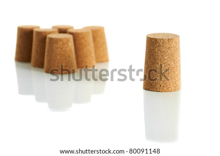 Business group concept, with set of wine corks