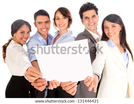 Business group holding a document - isolated over a white background
