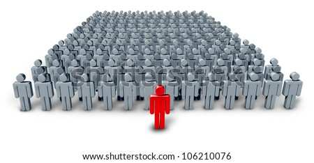 Business Group Leader symbol with a large crowd of grey worker characters being confidently lead by a red human icon as a concept of leadership guidance on a white background.
