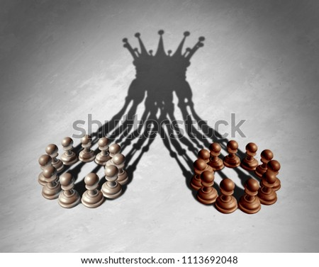 Business group leadership concept as a merger and acquisition and corporate teamwork combining strengths as chess pawns forming a king crown cast shadow as a 3D illustration.