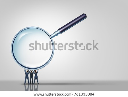 Business group looking together as businessmen and businesswoman holding up a magnifying glass with 3D illustration elements.