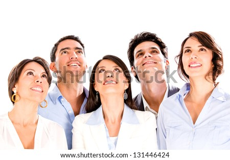 Business group looking up for inspiration - isolated over white background
