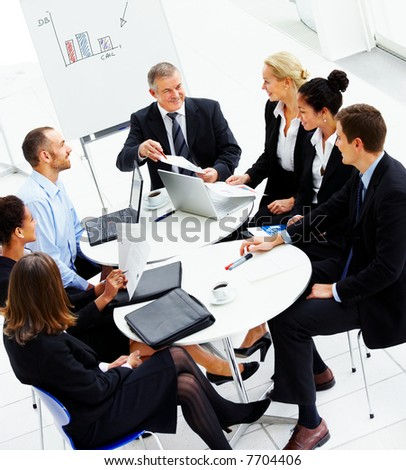 business people images. stock photo : Business group meeting portrait - Five business people working