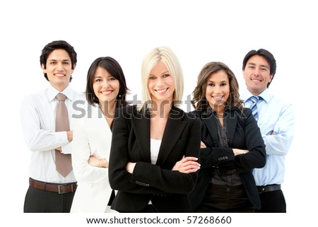 business group smiling isolated over a white background