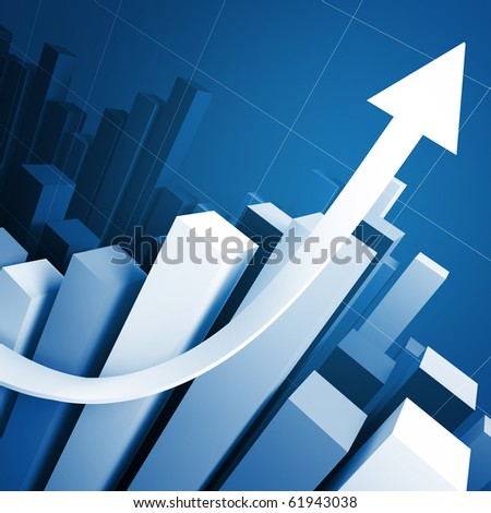 business growing stat and red arrow 3d background