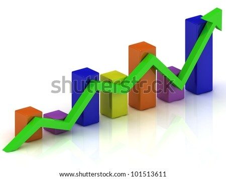 Business growth chart of the color bars and the green arrow on a white background