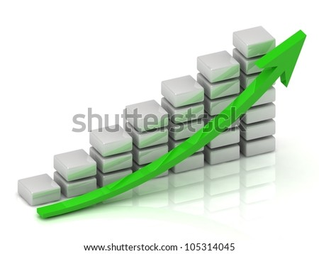 Business growth chart of the white blocks with a green arrow