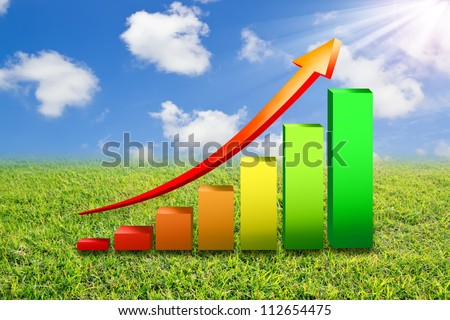 Business Growth Colorful Bar Diagram with red arrow on  green field with  blue sky