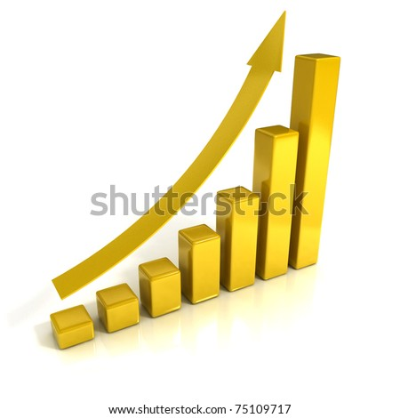 Business Growth - Golden Bars - 3D illustration.