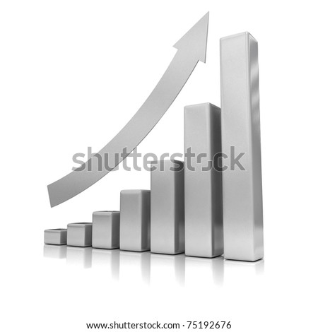 Business Growth - Silver Bars - 3D illustration.
