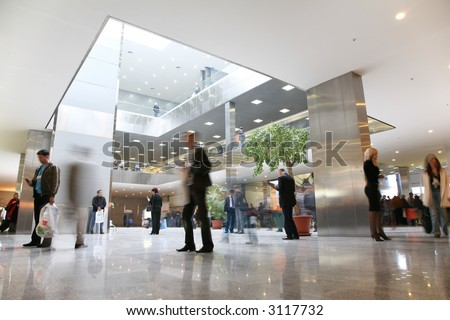 business hall - stock photo