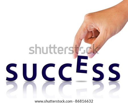 Business hand and word success