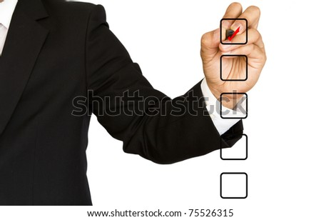 Business Hand choosing one of many options