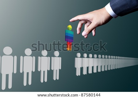 business hand choosing unique people