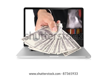 business hand coming out of laptop isolated on white