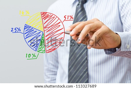 Business hand drawing a chart