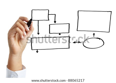 Business hand drawing an empty diagram
