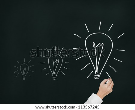 business hand drawing growth light bulb or growth idea concept