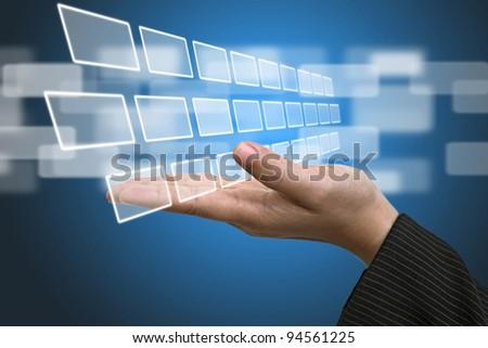 Business Hand hold blank Technology Input Screen Interface