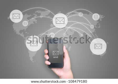 Business hand hold Touch screen mobile phone and buttons e-mail