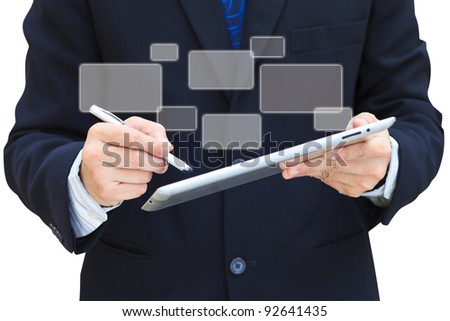 Business hand hold touch screen tablet computer and buttons