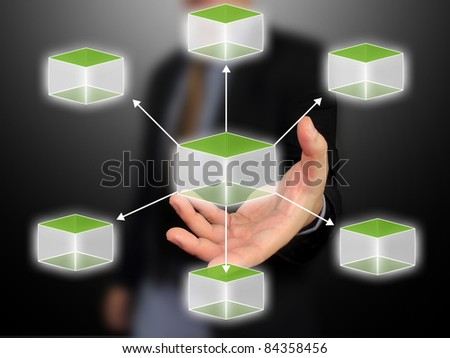 Business hand holding cubic diagram