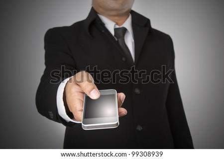 Business Hand holding smart phone - stock photo