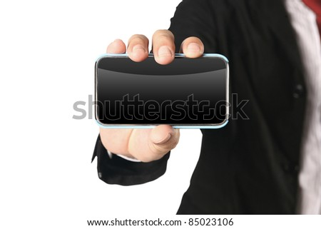 Business Hand holding smart phone on white