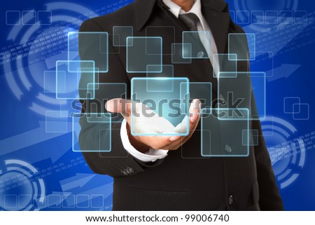business hand holds Touch screen  buttons