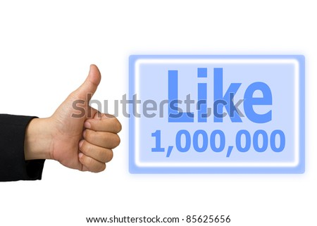 Business hand made like symbol hand and  button like 1,000,000 time