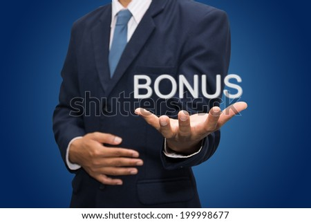 Business hand pointing bonus concept
