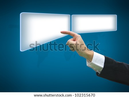Business hand pointing on button with world map background