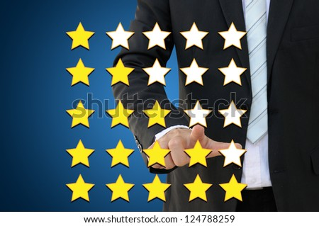 Business hand pointing performance evaluation in rating concept