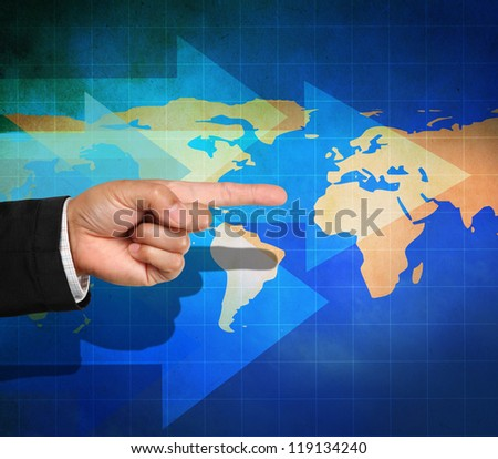 Business hand pointing with arrows on world map background