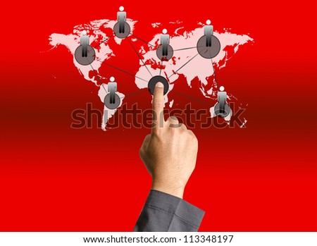 Business hand pushing people social network
