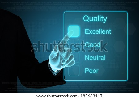 business hand pushing quality feedback on a touch screen interface