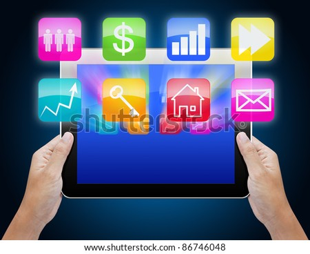 business  hand searching tablet
