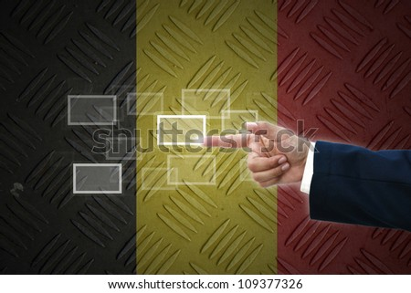 business hand selecting business icon on old Germany  flag background. #109377326
