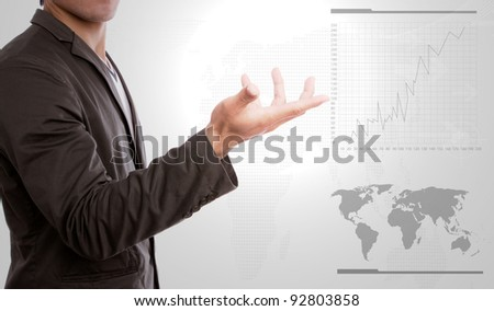 Business hand show graph