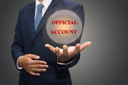 Business Hand Showing OFFICIAL ACCOUNT