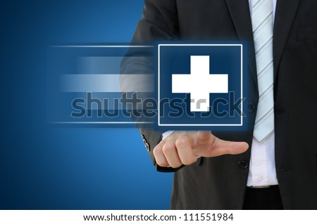 Business hand touch first aid sign