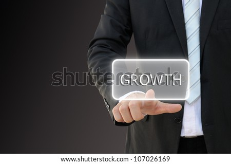 Business hand touch screen interface for growth word
