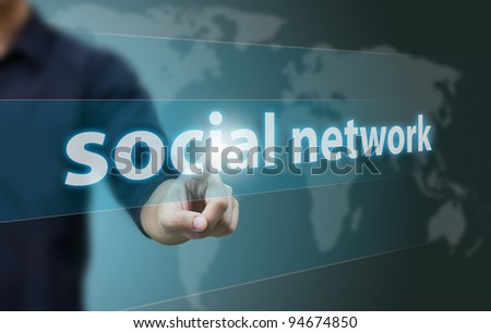Business hand touch social network