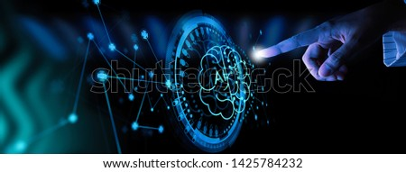business hand using digital artificial intelligence interface new modern computer. #1425784232