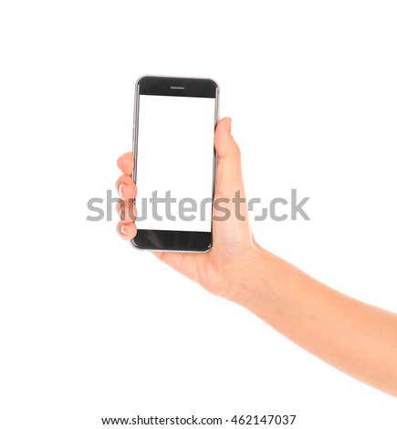 Business hand with mobile phone #462147037