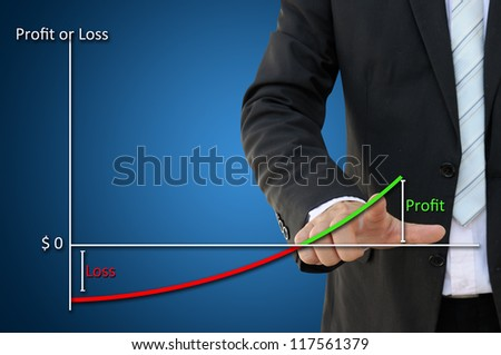 Business Hand with Profit and Loss Chart Result